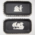 2 WEDGWOOD Black Jasperware Oblong / Rectangular Candy Dishes / Sweet Trays c.1976 with Boxes