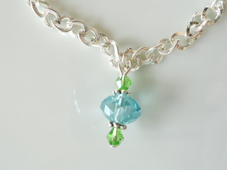 Aqua and Green Crystal Bracelet-101