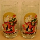 2 COCA COLA DRINKING GLASSES - Norman Rockwell Christmas Santa Claus World Globe