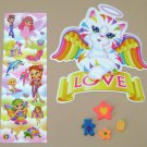 LISA FRANK LOT - Fairy Cat Kitten Golden Retriever Dog - Erasers Stickers Angel