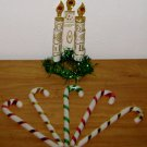 VINTAGE PLASTIC CANDY CANE ORNAMENTS 1970 Paper Candle Wreath Lot Tinsel Glitter