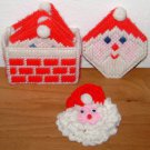 CROSS STITCH ORNAMENT LOT - Santa Claus Coasters Pin - Crochet Finished Vintage