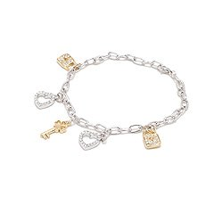 White Gold and Silver Charms Bracelet