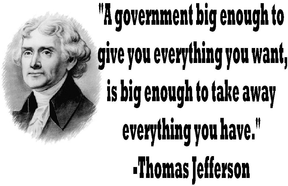 Thomas Jefferson BIG GOV quote ASH GRAY Tee Adult MEDIUM