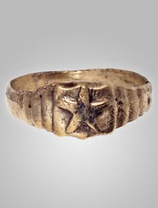 Ancient Ring Medieval Mans Star Ring Size 10 1/2 (20.4mm)(BRR69)