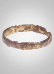 Ancient Viking Wedding Band Jewelry C.866-1067A.D. Size 8 1/4   (18.1mm)(Brr674)