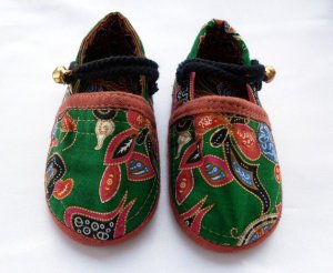 Funky colourful childrens shoes for boys or girls. Green and mixed colours. Baby toddler small size