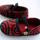 Funky colourful toddler childrens shoes for boys or girls. Red and black. Large size