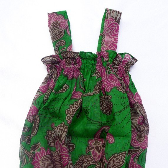 Funky colourful toddler childrens clothing. 3 to 4 years. Adjustable size. Green summer top.