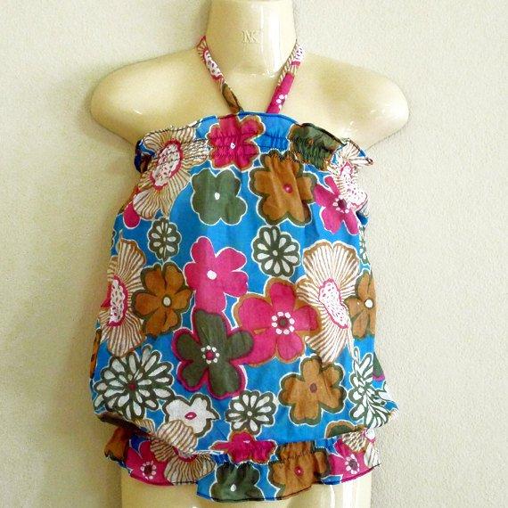 Funky toddler childrens clothing. 2 + yrs. Adjustable size. Blue pink flower summer halter top.