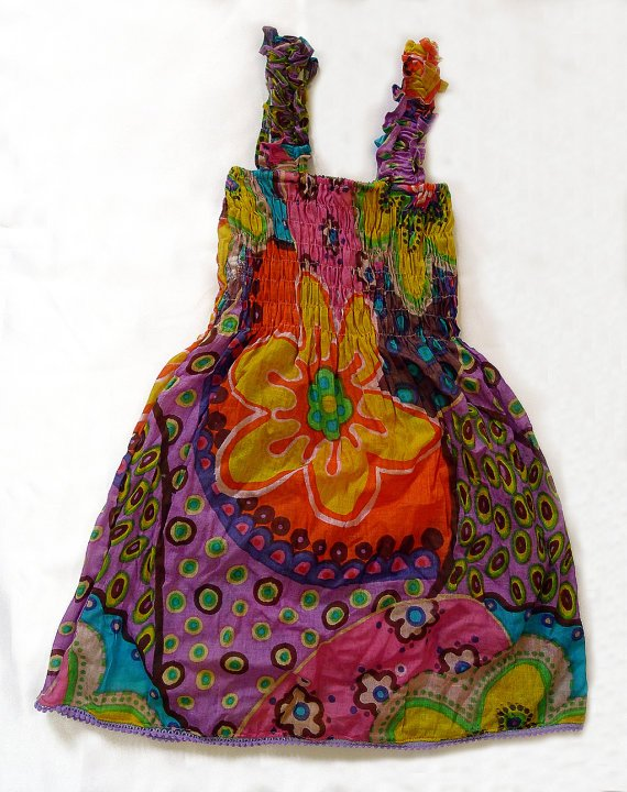 Funky summer sun dress. Adjustable size. Colorful toddler girls children's clothing.