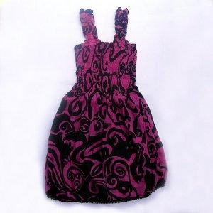 Funky pink summer sun dress. Adjustable size. Colorful toddler girls children's clothing.