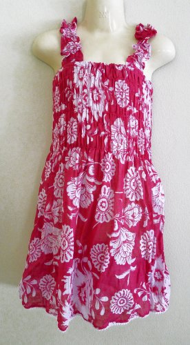 Funky pink summer sun dress. Colorful toddler girls children's clothing. Adjustable size.