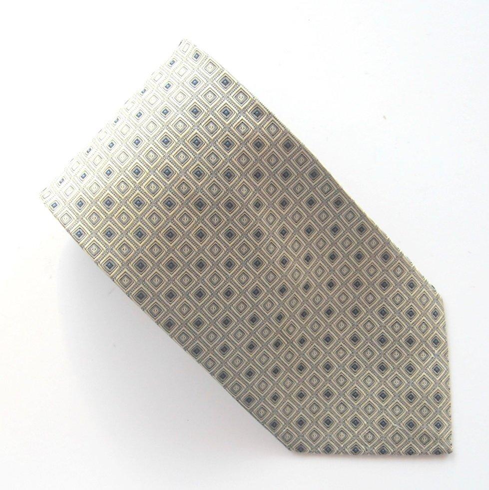 Di Mossio Platinum Blue Beige Design 100% Silk Necktie Tie