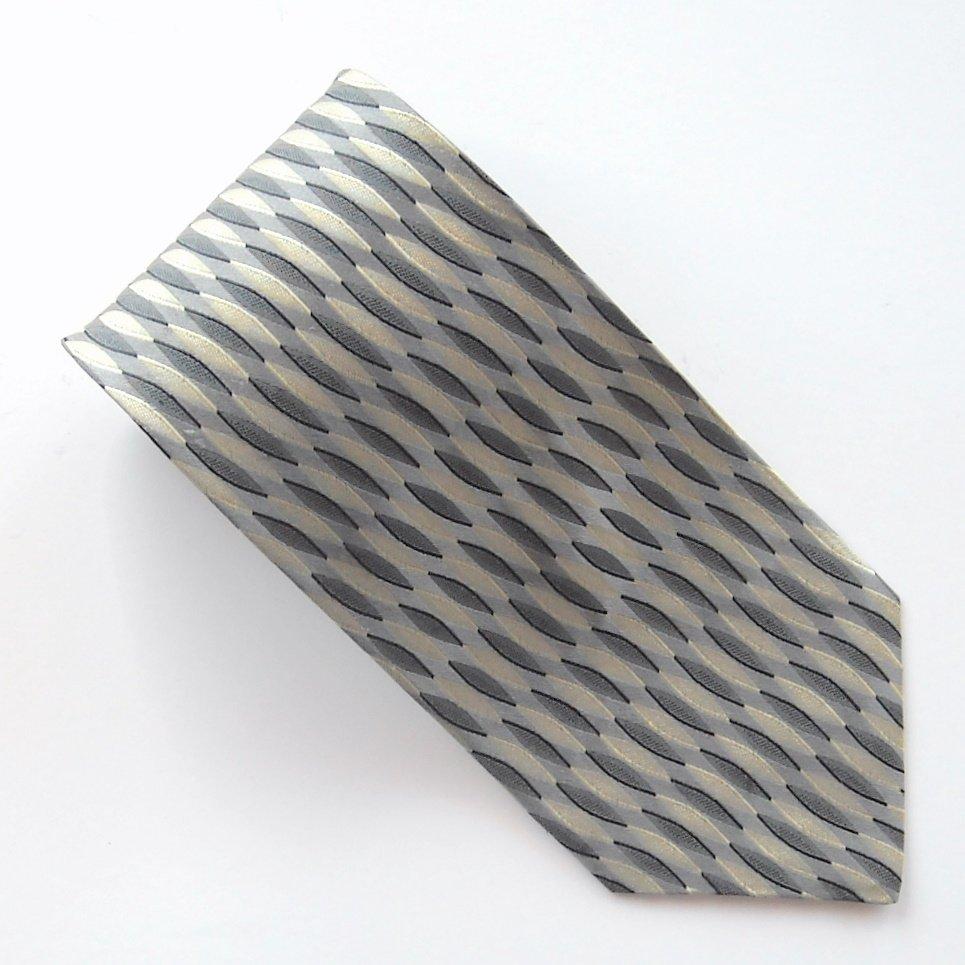 Valerio Garati Silver Black White Art Deco Design mens 100% Silk necktie tie