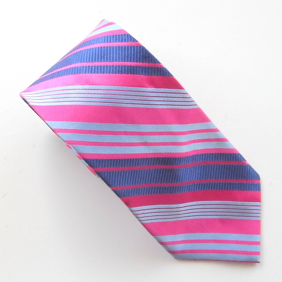 Croft & Barrow Pink Blue Silver Striped Design mens 100% Silk necktie tie