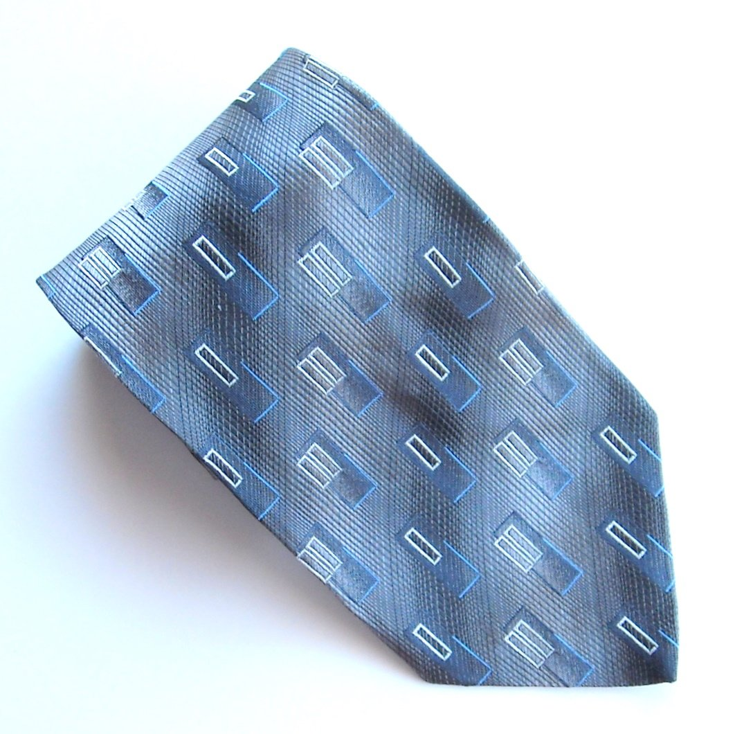 Pronto Uomo Black Silver Blue Design 100% Silk mens necktie tie