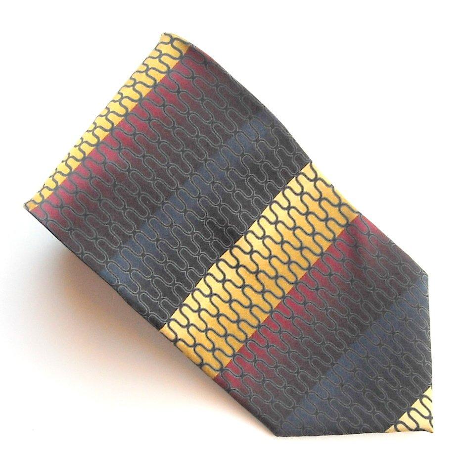 Valerio Garati Red Blue Golden Art Deco Design mens 100% Silk necktie tie