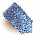 Murano Blue Silver Design mens 100% Silk necktie tie