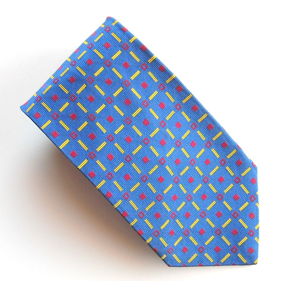 Nicola Ferri Blue Red Gold Mens Silk Necktie Tie