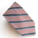 Embassy Row Navy Blue Striped Design 100% Silk mens necktie