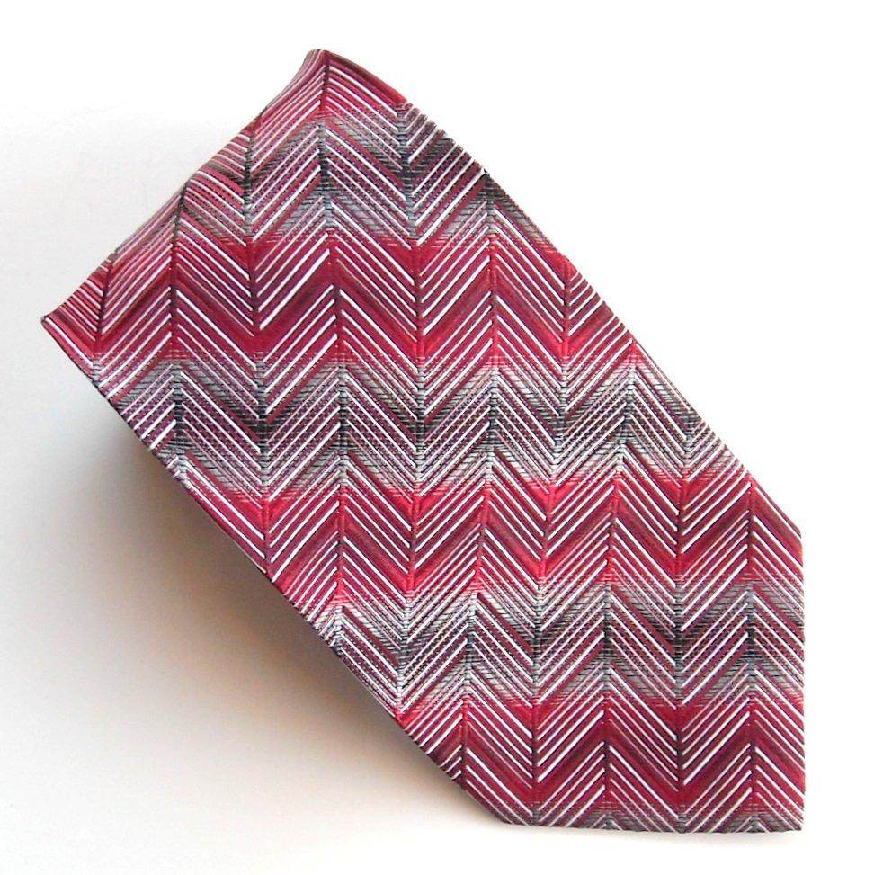 Stafford Modern Red Gray Geometric design mens 100% Silk necktie tie