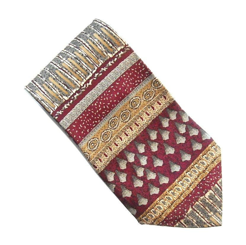 Cocktail Colors Collection Burgundy Burgundy Golden Design 100% Silk Necktie Tie