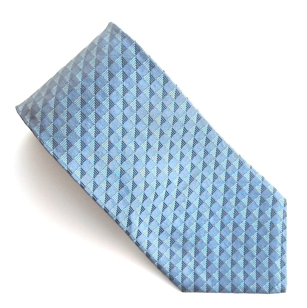 Tommy HilFiger Navy Blue with Blue Blocks Design 100% Silk mens necktie tie