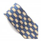Bill Blass Blue Beige Red Geometric Design 100% Silk mens necktie