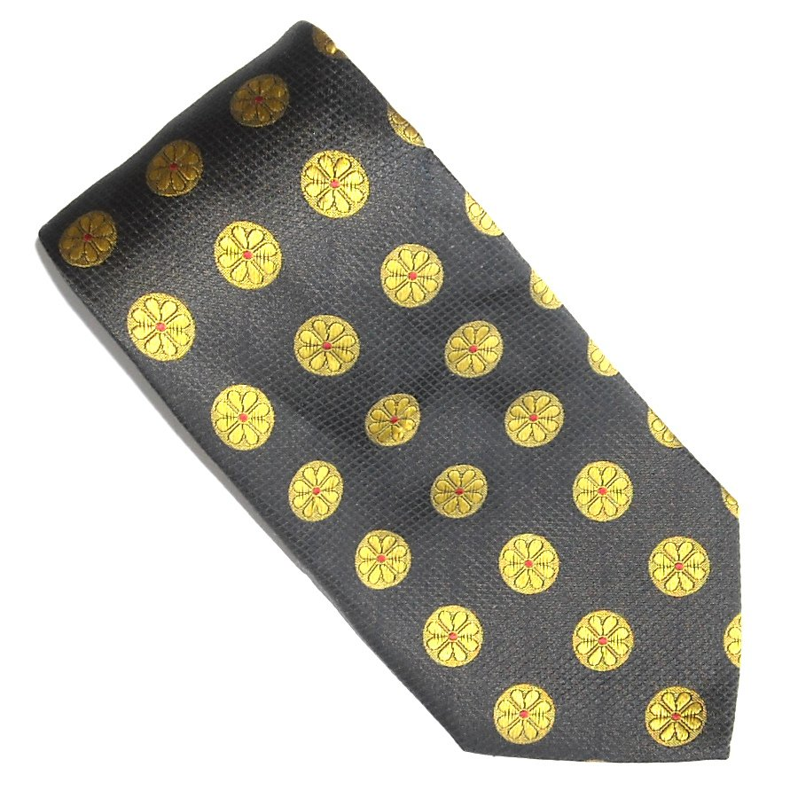 Giorgio Armani Black Gold Wheels Design Silk Mens Necktie Tie