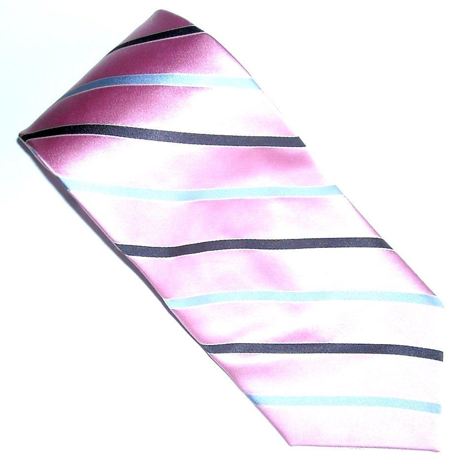 Nautica Pink and Silver Striped Design 100% Silk mens necktie tie