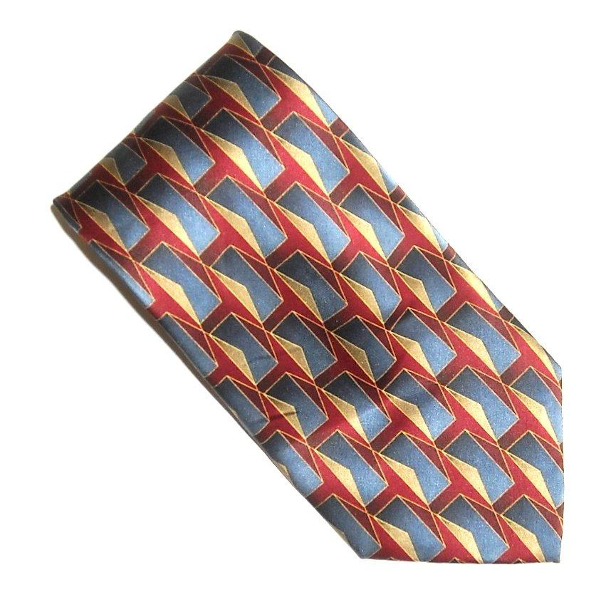 Cocktail Colors Collection Burgundy Navy Blue Geometric Design 100% Silk Necktie Tie