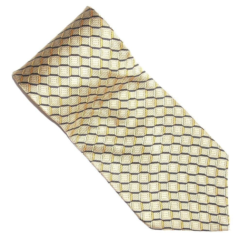 Nautica Golden Beige with Black White Lines Design 100% Silk mens necktie tie