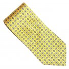 Ralph Lauren Yellow with Blue White Red Geometric Design 100% Silk mens necktie tie