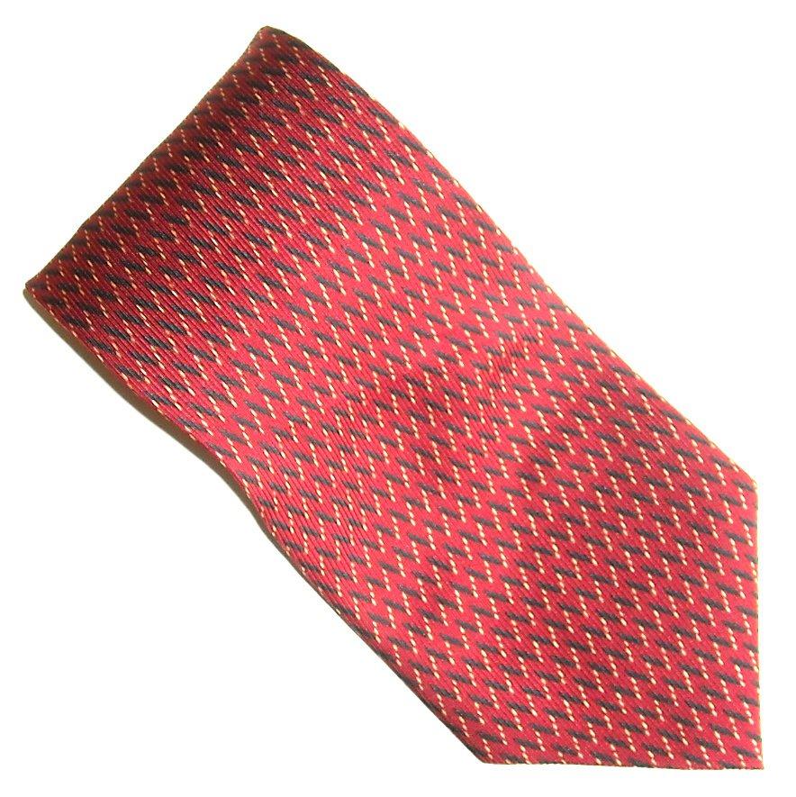 Nautica Red with Black and White  Design 100% Silk mens necktie tie