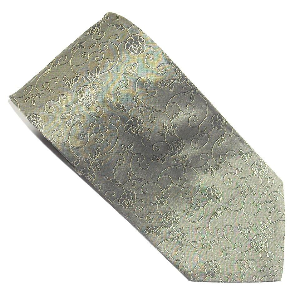 GM Giorgio Mandelli Grey Green Yellow Flower Design mens 100% Silk necktie tie