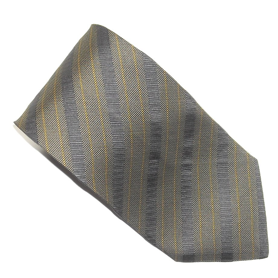 Mondo Di Marco Black Grey Yellow Stripe Design mens 100% Silk necktie tie