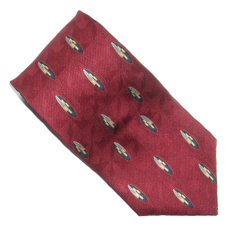 Bill Blass Red Yellow Blue Geometric Design 100% Silk mens necktie