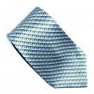Van Heusen Beige Brown Blue Geometric Design 100% Silk mens necktie