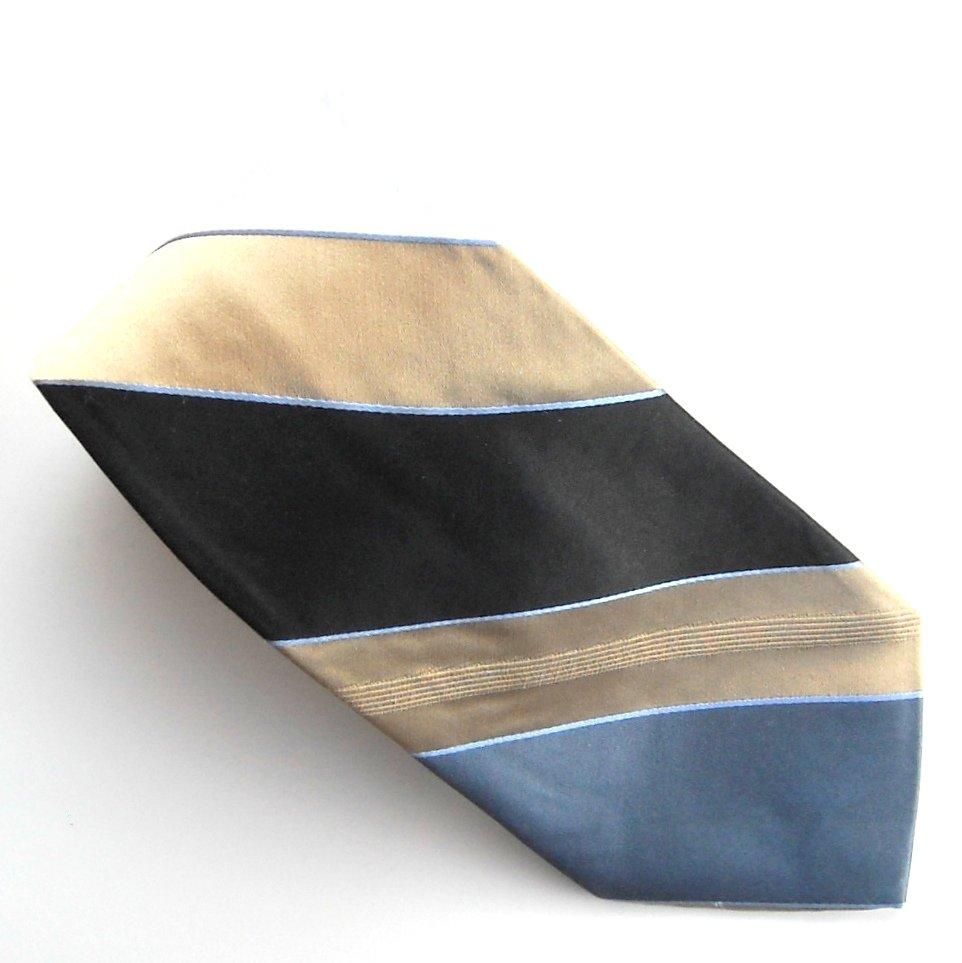 Club Room Blue Golden White Striped Design mens 100% Silk necktie tie