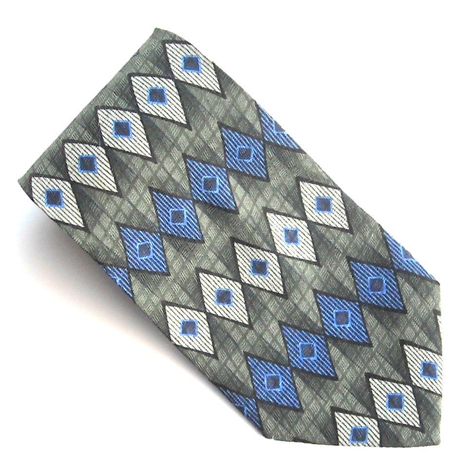 Milano Uomo Green White Blue Rectangular Design mens 100% Silk necktie tie