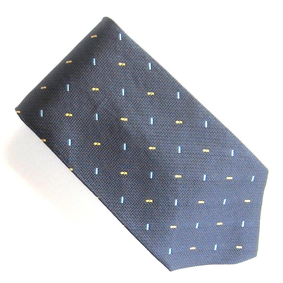 Tommy HilFiger Navy Blue with Yellow Square Dots Design 100% Silk mens necktie tie