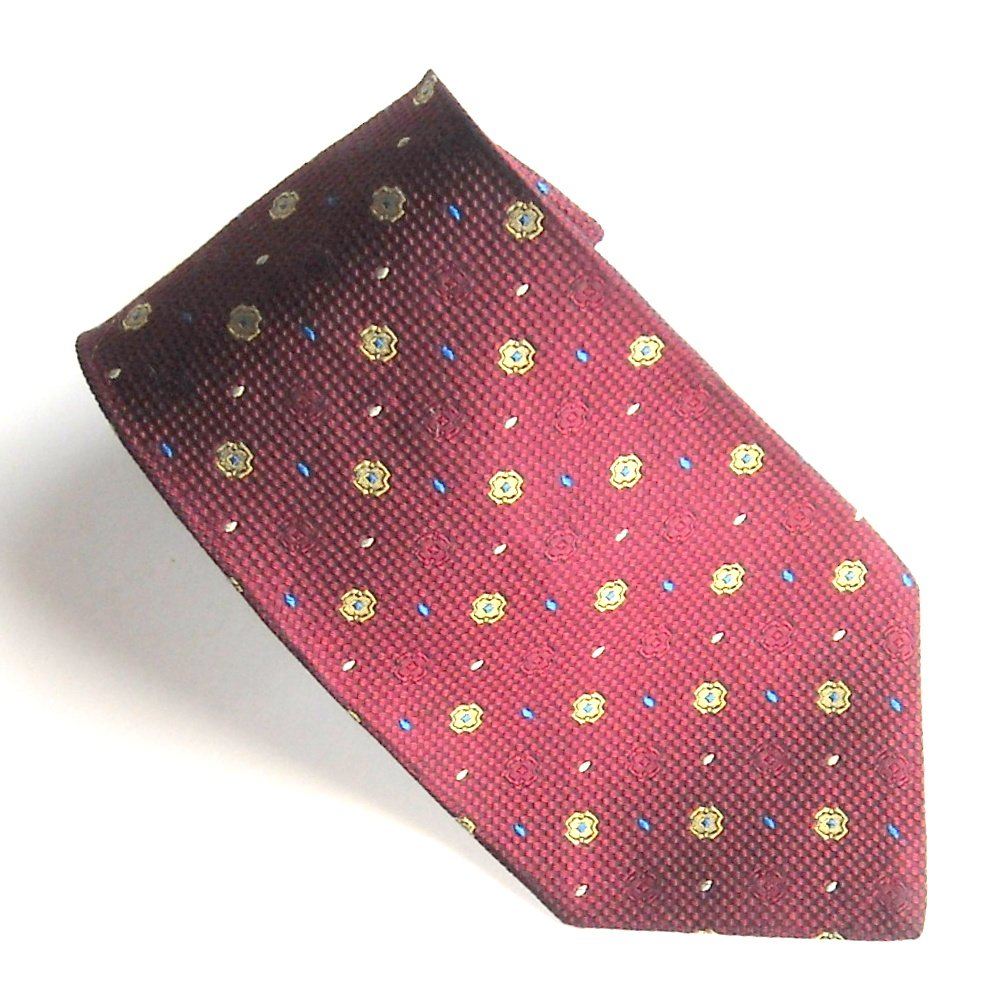 Tommy HilFiger Burgundy Red with Yellow Design 100% Silk mens necktie tie