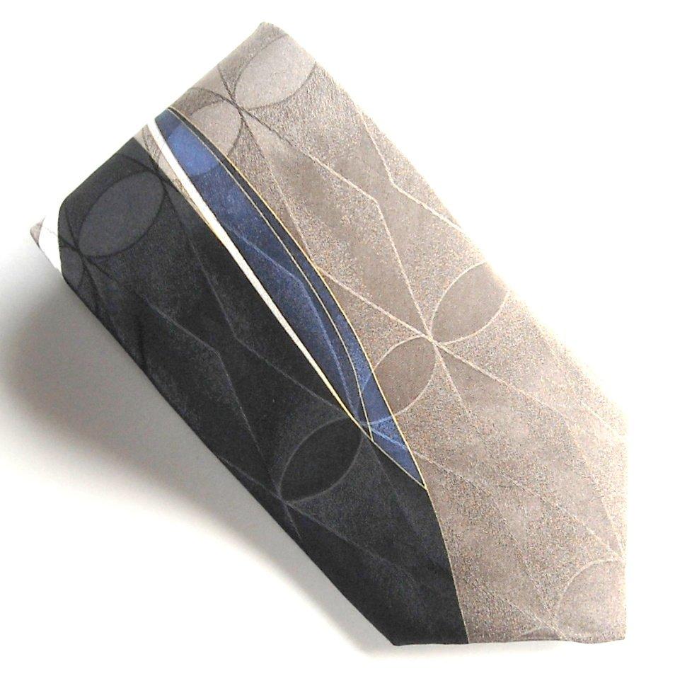 Croft & Barrow Black Beige Brown Art Deco Design mens 100% Silk necktie tie