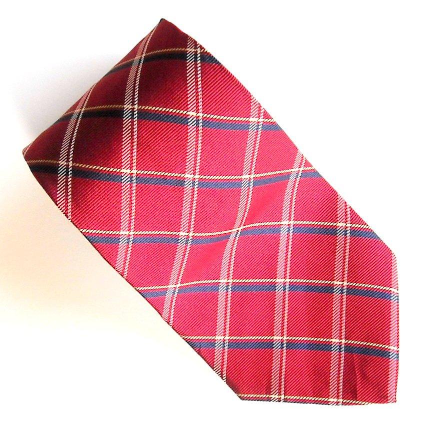 Savile Row Red Blue Beige Stripe Design mens 100% Silk necktie tie