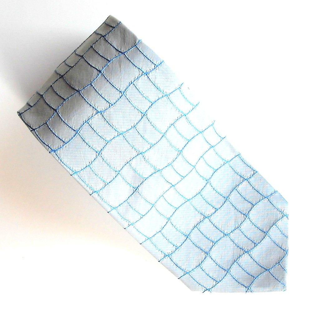 Enrico Venturi Silver Blue Art Deco Design mens 100% Silk Extra Long necktie tie