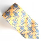 Van Heusen Yellow Gray Blue Geometric Design 100% Silk mens necktie