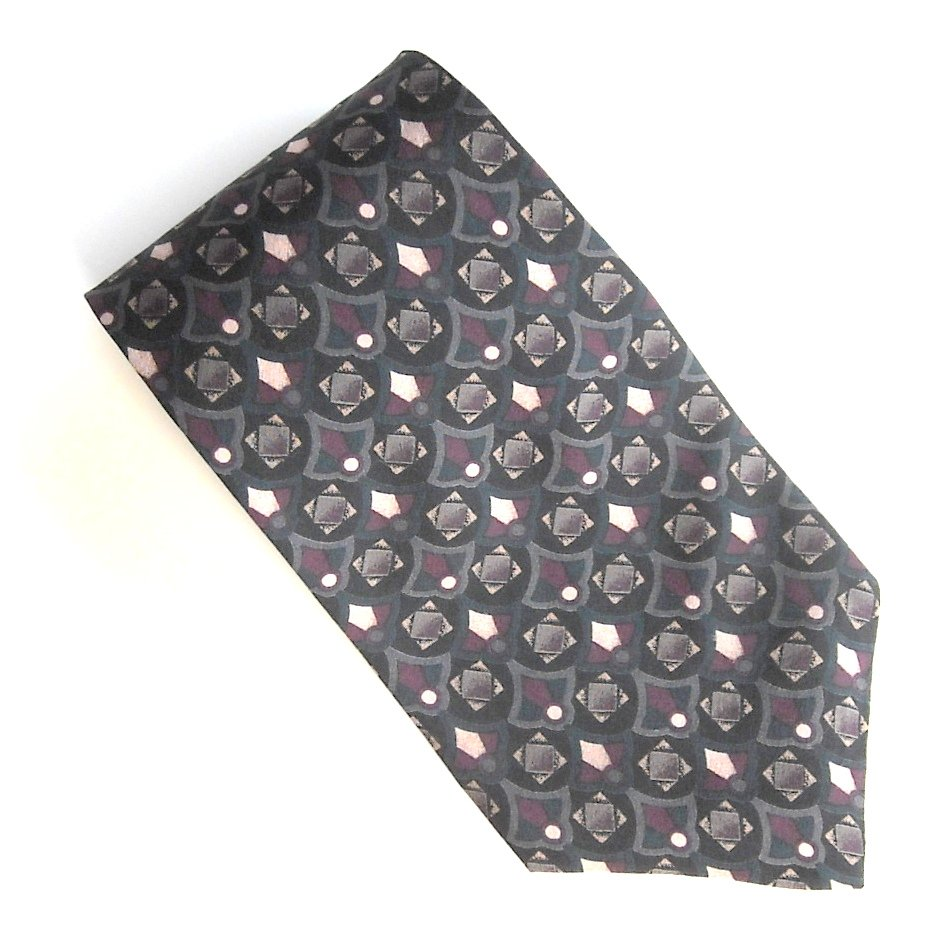 Hunting Horn Black Red Gray Green Geometric Design 100% Silk mens necktie
