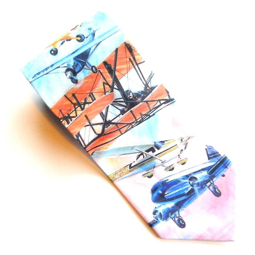 Ralph Marlin Airplanes Blue Red Orange Beige Novelty mens 100% Silk necktie tie