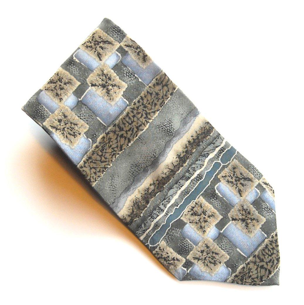 Jimmy V Blue Green Beige Brown Design mens 100% Silk necktie tie